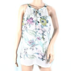 Black Rainn Floral Tie Front Sleeveless Top